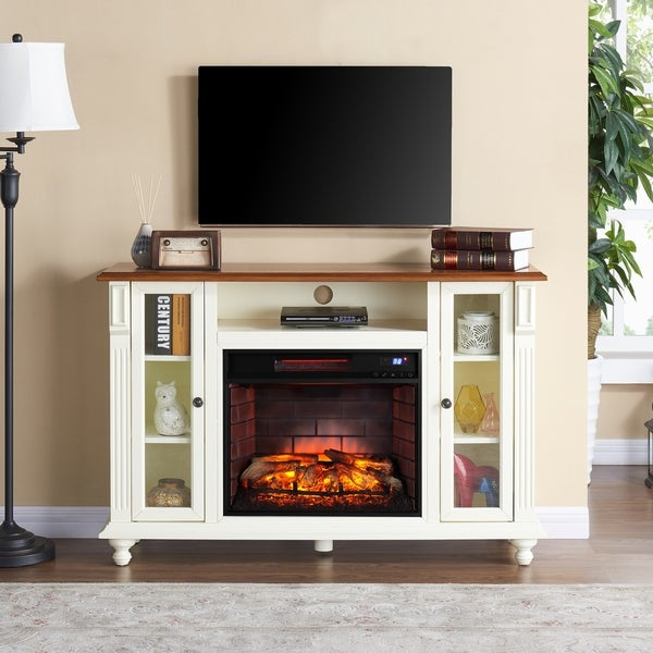 shop gracewood hollow aitson antique white infrared electric fireplace tv stand on sale free. Black Bedroom Furniture Sets. Home Design Ideas