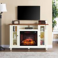 Gracewood Hollow Aitson Antique White Infrared Electric Fireplace TV Stand