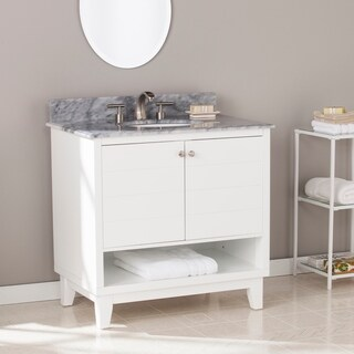 Harper Blvd Ramon Bath Vanity Sink w/ Marble Top - White w/ Gray