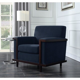Chic Home Airoe Retro Modern Wood Trim Detailed Herringbone Chenille Club Chair