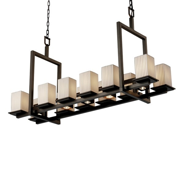 Justice Design Limoges Montana Dark Bronze 12-up and 5-downlight Chandelier, Short Pleats Square with Flat Rim Shade
