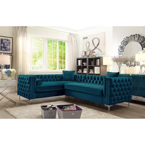 Chic Home Susan Elegant Velvet Tufted Left Facing Sectional Sofa