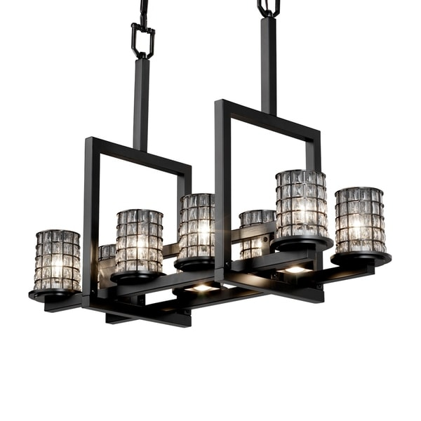 Justice Design Wire Glass Dakota Matte Black 8-up and 3-downlight Chandelier, Clear Bubbles Cylinder Flat Rim Shade - Grid Cage