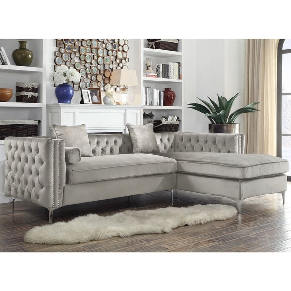 Chic Home Monet Silvertone Tufted Velvet Y-leg Right-facing Sectional Sofa. Opens flyout.