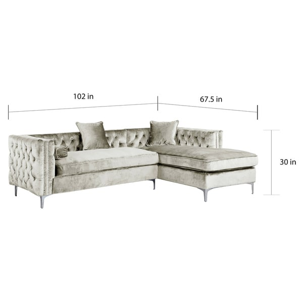 Chic Home Monet Silvertone Tufted Velvet Y-leg Right-facing Sectional Sofa