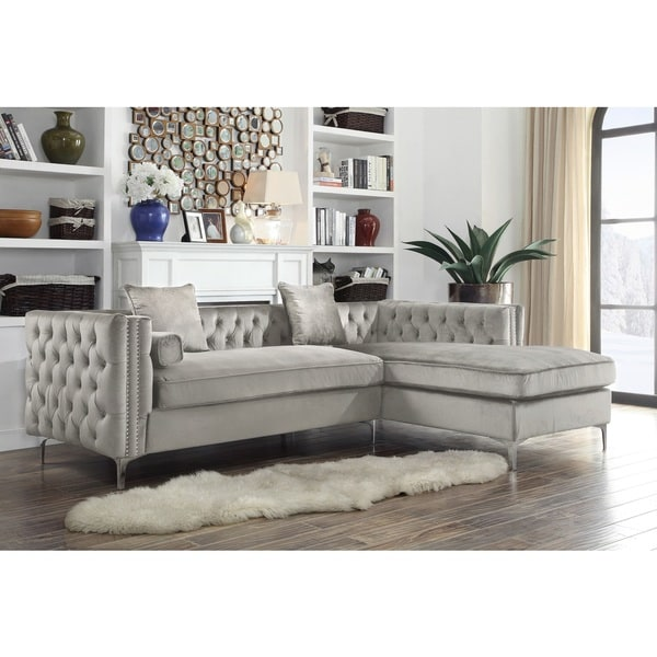 Inspirational Chic Home Monet Silvertone Tufted Velvet Y leg Right facing Sectional Sofa New Design - Luxury Sectional sofa with Nailhead Trim HD