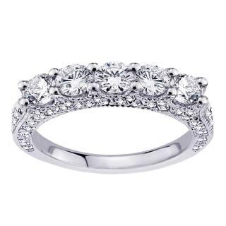 platinum 1 45 ct 5 stone diamond encrusted wedding band - 2 Carat Wedding Ring