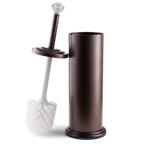 "Bronze Toilet Brush Holder with Crystal Accent (17""X4.5"")"