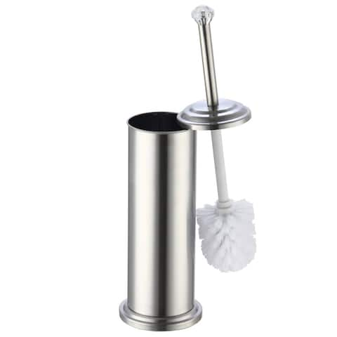 """Stainless Steel Toilet Brush Holder with Crystal Accent (17""""X4.5"""")"""