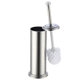 "Stainless Steel Toilet Brush Holder with Crystal Accent (17""X4.5"")"