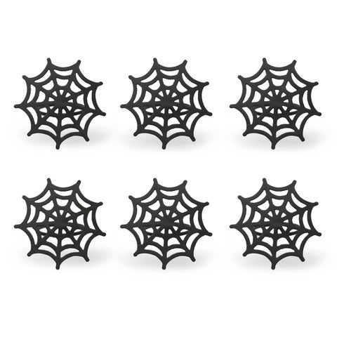 Black Spider Web Napkin Ring - Set of 6
