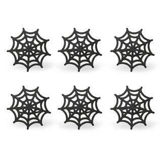 black spider web napkin ring set of 6