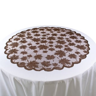 Lace Leaf Table Topper - Brown - 40 X 40""