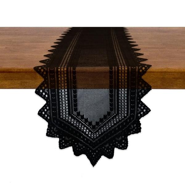 "Nordic Lace Tablerunner - Black - 14 X 72"""