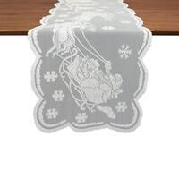 """Snow Village Lace Tablerunner - White - 14 X 72"""""""