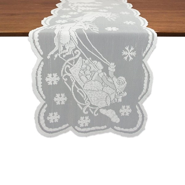 Snow Village Lace Tablerunner - White - 14 X 72""