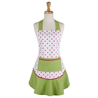 Pink And Green Polka Dot Ruffle Apron