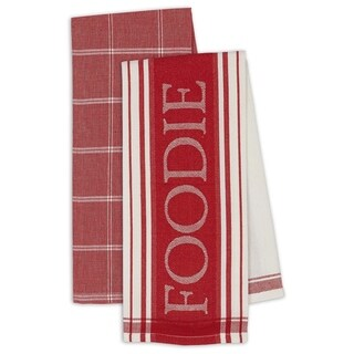 "Tomato Gourmet Dishtowel Set of 4- Includes 2 ""Foodie"" & 2 Plaid"