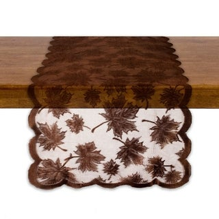 Lace Maple Leaf Table Runner - Brown - 18 X 72""