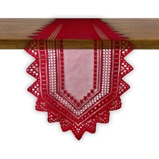 Nordic Lace Tablerunner - Red - 14 X 72""