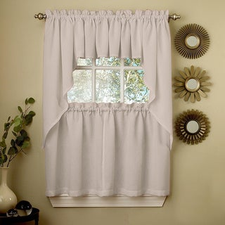 Opaque Grey Ribcord Kitchen Curtain Pieces - Tiers/ Valances/ Swags