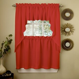 Opaque Red Ribcord Kitchen Curtain Pieces - Tiers/ Valances/ Swags