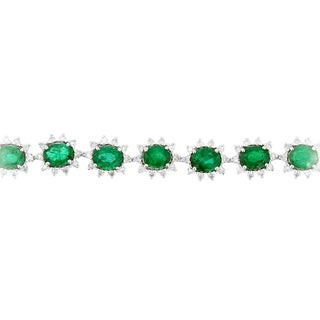 Auriya Platinum 6 5/8ct Emerald and 1 3/4ct TDW Diamond Bracelet - Green