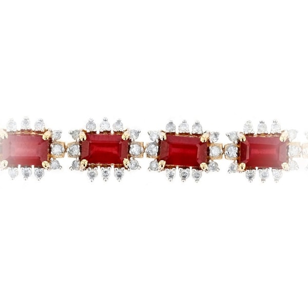 """14k Solid Yellow Gold Over 8CT Emerald Cut Red Ruby /& Diamond Tennis 7/""""Bracelet"""