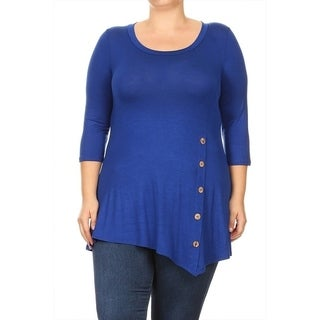 Women's Plus Size Solid Button Trim Tunic (More options available)