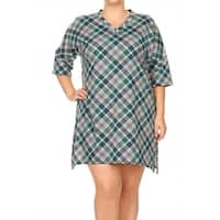 Women's Plus Size Plaid Pattern Short Dress
