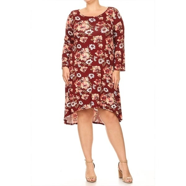 Womens Plus Size Floral Pattern Mid Length Dres Free Shipping