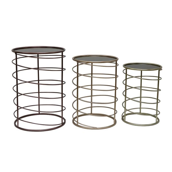 Mirrored End Tables (Set of 3)