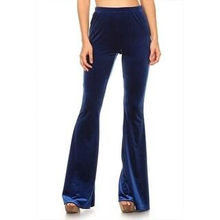 Women's Solid Velvet Wide Leg Pants