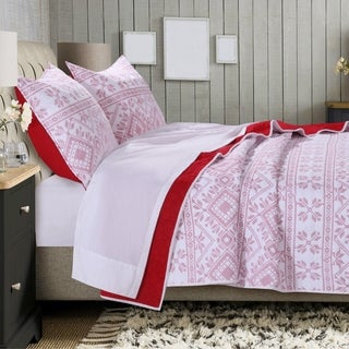 Holly, Cross Stitch Quilt Set, White