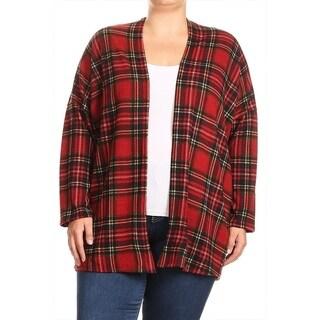 Women's Plus Size Plaid Pattern Cardigan (Option: Beige)