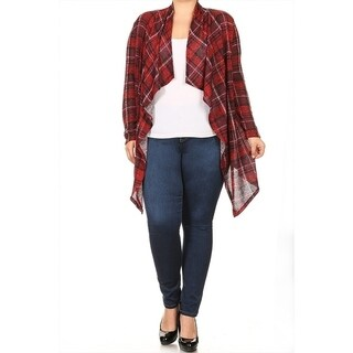 Women's Plus Size Plaid Pattern Cardigan
