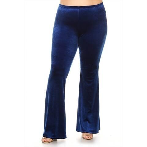 Women's Plus Size Solid Velvet Flare Pants