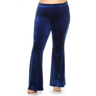 Women's Plus Size Solid Velvet Flare Pants|https://ak1.ostkcdn.com/images/products/17839374/P24029042.jpg?impolicy=medium