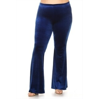 Women's Plus Size Solid Velvet Flare Pants