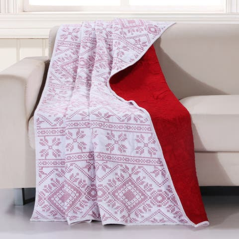 Holly, Cross Stitch Cotton Quilt Throw, White