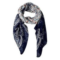Peach Couture Lightweight Damask Navy Paisley Scarf - Medium