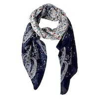Peach Couture Lightweight Damask Navy Paisley Scarf