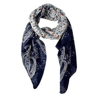Link to Peach Couture Lightweight Damask Navy Paisley Scarf - Medium Similar Items in Scarves & Wraps
