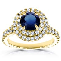 Annello by Kobelli 14k Yellow Gold 2 1/3 Carat TGW Domed Cluster Blue Sapphire and Diamond Double Halo Ring