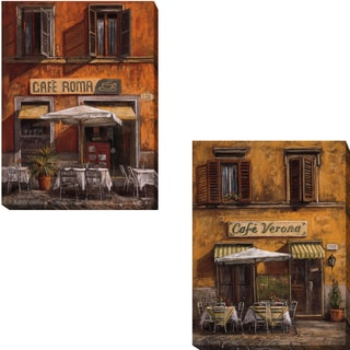 Cafe Roma and Cafe Verona by Malcolm Surridge 2-piece Gallery-wrapped Canvas Giclee Art Set