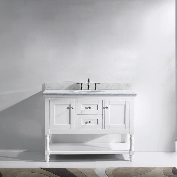 Julianna 48-inch Single Vanity White Marble Top Round Sink