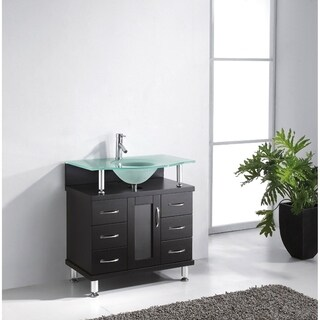 Vincente 32-inch Single Modern Vanity Set with Glass Top Options