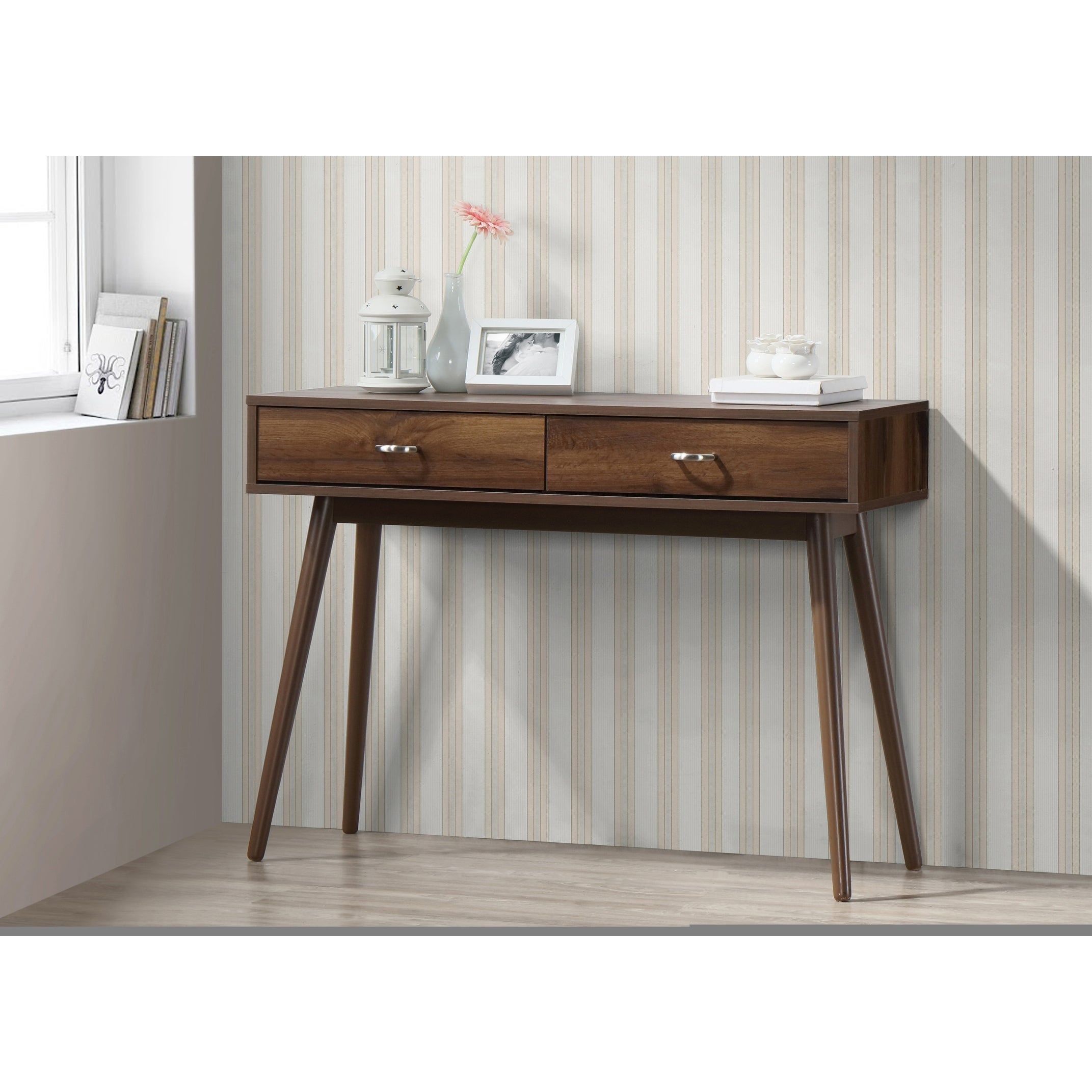 Image of: Shop Black Friday Deals On Montage Mid Century Desk With Drawers Walnut Overstock 17839605