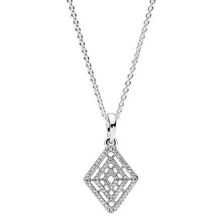 3e412fdf1a3 Shop PANDORA Geometric Lines Necklace & Pendant - 396209CZ-60 - Free  Shipping Today - Overstock - 17839617