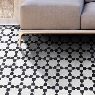 Handmade Martil in White and Black Tile, Pack of 12 (Morocco)